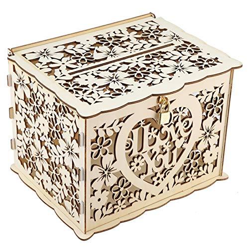 Scatola per carte di nozze in legno Scatola per carte regalo rustica con salvadanaio per matrimonio con lucchetto e segno di carta per ricevimento di nozze, anniversario, 9,8x7,9x7,2 pollici