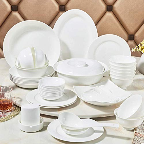 HZR Ceramics Dinner Sets, Bowl/Dish/Plate|56 Pieces Dinnerware can Microwave Tableware Set White - Family Party and Kitchen Restaurant