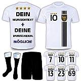 DE-Fanshop Deutschland Trikot Hose Stutzen mit GRATIS Wunschname Nummer Wappen Typ #D 2021 im EM/WM Weiss - Geschenke für Kinder,Jungen,Baby. Fußball T-Shirt personalisiert