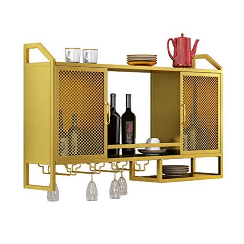 Soporte de Stemware colgante Botelleros con soporte de vidrio   Soporte para botella vino montado pared   Vitrina metal para vino Estante Vino, para bar / gabinetes / cocina, dorado Estante de la de