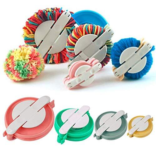 Accmart 4 Sizes Pom-pom Maker for Fluff Ball DIY Wool Knitting Craft Tool Set, Best for Christmas Decorations