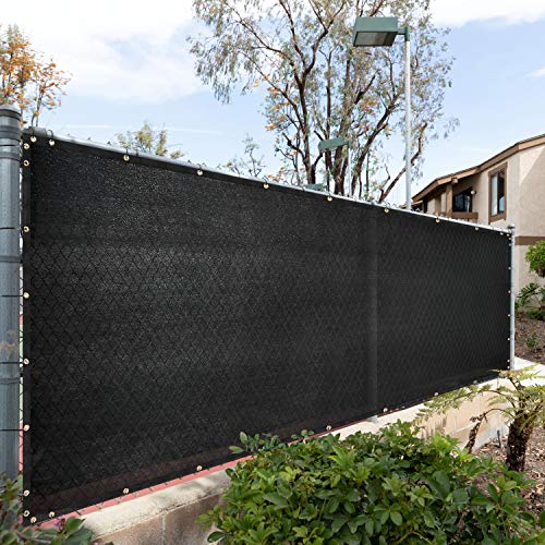 Royal Shade 8' x 3' Black Fence Privacy Screen Windscreen Cover Netting Mesh Fabric Cloth - Cable Zip Ties Included - WE Custom Make Size