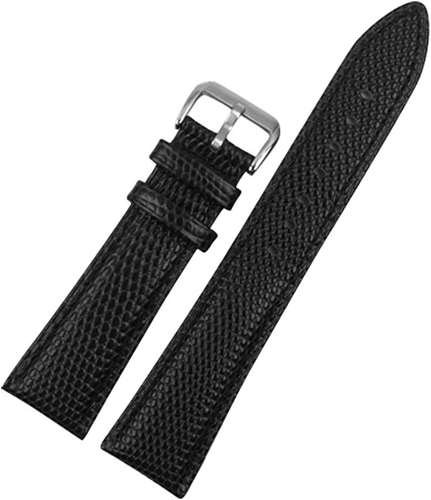 Uyoung 20mm Men's Genuine Leather Superior Grain Black Watch New products, world's highest quality popular! Band Lizard