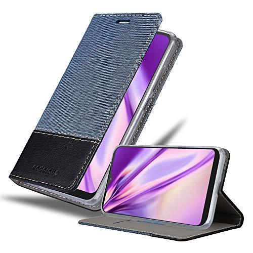 Cadorabo Hülle für Motorola ONE Macro in DUNKEL BLAU SCHWARZ - Handyhülle mit Magnetverschluss, Standfunktion & Kartenfach - Hülle Cover Schutzhülle Etui Tasche Book Klapp Style