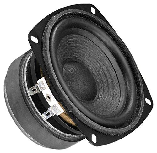 MONACOR SP-100/8 Hi-Fi Tiefmitteltöner, Bass Speaker mit stabiler Papiermembran, hochwertiger Alu-Spule, Polkernbohrung und Gummisicke, in Schwarz