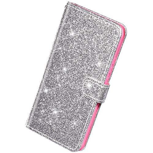 Herbests Kompatibel mit Samsung Galaxy S10e Hülle Leder Schutzhülle Glitzer Diamant Strass Bling Glänzend Handyhülle Klapphülle Flip Case Brieftasche Hülle Wallet Ledertasche Magnet,Silber