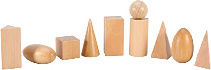 Juguetes Eleganantamazing Montessori Bolsa de Madera geométrica con Forma de 3D para Aprender a Aprender matemáticas