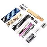 Material de grafito, kit de lápiz artístico para bocetos y dibujos, accesorios artísticos con bolsos portátiles,