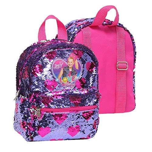 JoJo Siwa Mini Backpack with Brushed Sequins, Pink Purple, Medium