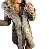 Sfit Damen Mantel Herbst Winter Cardigan Lang V Ausschnitt Baumwoll Winterparka Winterjacke mit Kunstfell Pelzkragen Plüschjacke Warm Coat Parka Outerwear