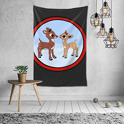 zhenzhou Rudolph The Red-Nosed Reindeer & Clarice Tapestry 3D Printed Vintage Wall Hanging Hippie Decoration Tapestries Fashion Wall Art 60x40inch