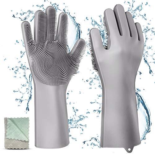 Silikon Handschuhe mit wash Scrubber, Gifort BPA-Frei umweltfreundlich Waschhandschuh Hitzebeständige Spülhandschuhe Reinigungsbürste...