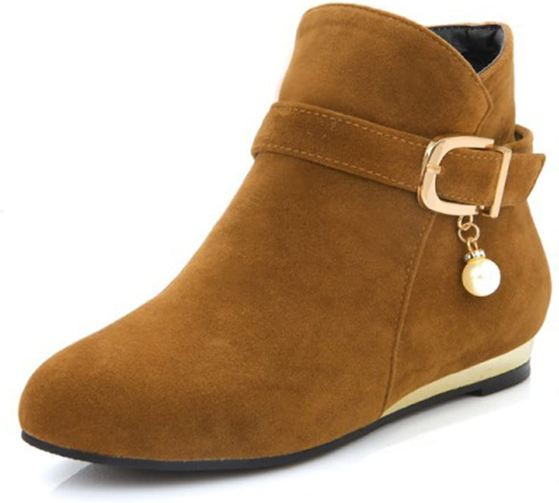 Aisun Women's Cute Beaded Round Toe Buckle Strap Side Zipper Low Heels Dress Ankle Boots shoes