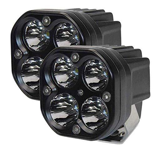 AllExtreme EX40WF2 4 LED Fog Light Super Bright Spot Flood Beam Driving Lamp for Motorcycle Cars Bikes & SUV (40W, White Light, 2 PCS)