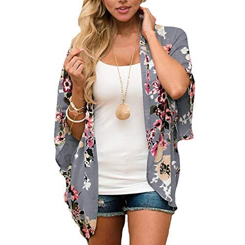 ECOMBOS Damen Florale Kimono Cardigan - Chiffon Tops Cardigan Bluse Shawl Sommer Beachwear Cover up Leichte Boho Strand Jacke (Grau, L)