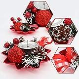 Bibivisa 3X Weihnachten Kerzenhalter, Bereift Tannenzapfen Kerzenständer Dekorativ Rote Beeren Glitzer Ball, Christmas Kerzenlicht Weihnachtskerze Stehen für Weihnachten Tischdeko Advent Deko - 5