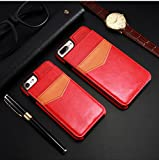 KiSSCASE iPhone X 10 8 7 6 6s Plus PU Leather Case Vertical Flip Multi Card Holders Photo Frame Stand Function Slot Cover Wallet Money (Red, iPhone Xs Max)