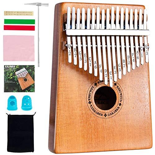 EastRock Kalimba 17 Keys Daumenklavier mit kurvenförmigem Design, leicht zu erlernende tragbare Musikinstrumentengeschenke für Kinder Erwachsene Anfänger mit Stimmhammer und Unterricht. (Mogano-Plus)