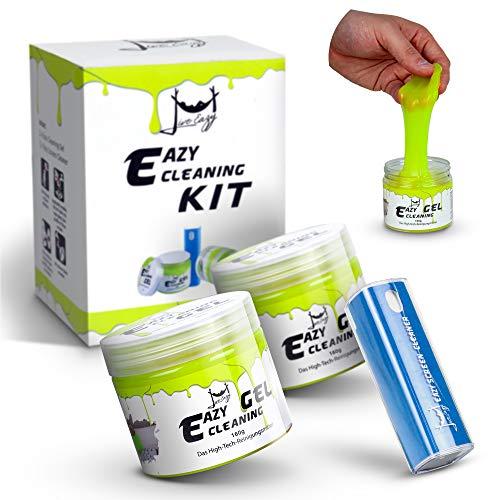 Eazy Cleaning Kit 2x PREMIUM Reinigungsgel und 1x Eazy Screen Cleaner - Reinigungsknete für den Innenraum, Ideal für Auto und Tastatur Reinigung, Bildschirmreiniger für Display, Handy etc