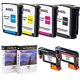 2PK LKB HR940 Druckkopf C4900A C4901A Überholter Druckkopf und 1 Satz 940 940XL Tintenpatrone mit nie verwendetem Chip Kompatibel für Officejet 8000 8500A (Druckkopf und Patrone) -UK