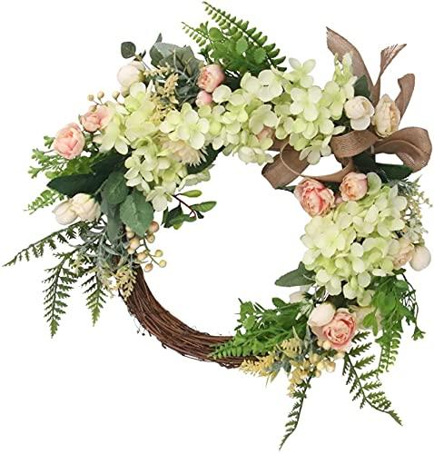 Decoraciones navideñas Corona de flores artificiales puerta decorativa de la guirnalda con hortensia Eucalyptus crisantemo flor verano otoño guirnalda guirnalda for la decoración de cumpleaños de la b