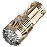 yunyu Faro da Esterno Impermeabile, SF34 Potente Torcia a LED 2000LM Torcia a LED CREE Torcia 18650 Torcia a 5 modalità Lampada Portatile, Oro, 13 * T6
