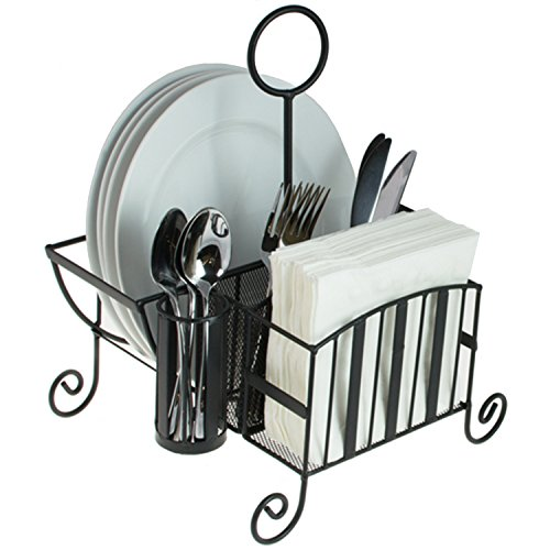 Black Metal Mesh Kitchen/Picnic Buffet Caddy Holder for Utensil, Plates, Napkins with Handle