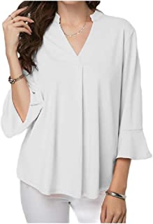 neveraway Women's Loose Fit Elegant Casual V-Neckline Pleated Shirt Blouse