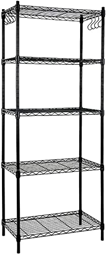 discount EFINE 5-Shelf Shelving Unit with 8-Hook, Adjustable, Steel 2021 Wire Shelves, 150lbs discount Loading Capacity Per Shelf, Shelving Units and Storage for Kitchen and Garage (23.6W x 14D x 59H) Black outlet online sale