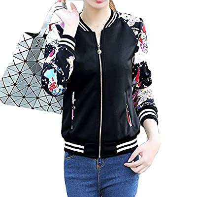 EVEDESIGN Women's Floral Print Baseball Bomber Jacket Slim Fit Casual Zip Up Outwear by
