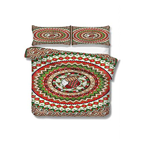 HouseLookHome Christmas Microfiber Soft Duvet Cover Set,Circles Sock Figure Decorative 3 Piece Bedding Set with 2 Pillow Shams,Full Size