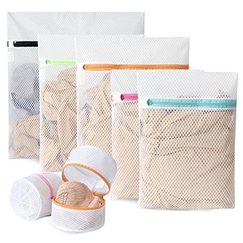 BAGAIL - Sacchetti portabiancheria in rete a nido d'ape, di alta qualità, da viaggio, per camicie, calze, biancheria intima, reggiseni, lingerie 7 set (1 l+2 l+2 m+2 bustine reggiseno).