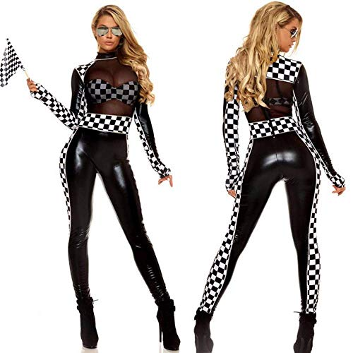 BOLAWOO-77 Frauen Hübsch Kunstleder Racing Girl Overall Exotic Long Sleeves Mode Basic Cheerleader Racer Auto Kostüm Body Playsuit,Black,M (Color : Colour, Size : Size)