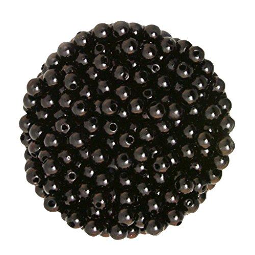 Homyl 500er Set Kunstperlen 6mm Perlen mit Loch Wachsperlen Dekoperlen Bastelperlen Zwischenperlen zum Basteln dekorieren verzieren - Schwarz
