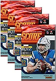 Universal Specialties 2019 Score NFL Football Four (4) Factory Sealed Packs with 12 Cards Each!