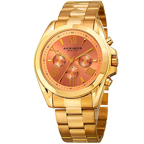 Akribos XXIV Women's Multi-Function Watch - 3 Subdials - Date, Day, 24 Hours  Clear Roman Numerals On A Stainless Steel Bracelet- AK951