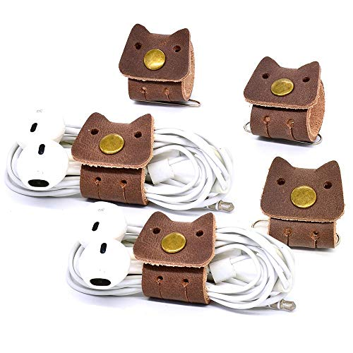 CAILLU Cord Organizer,Cord Keeper Earbud case,Headphone Earbud Holder,Headset Wrap Winder,Cord Manager,Phone Earphone case Holder USB Cable Ties,Tiny Leather Gadget Cable Earbud case Clips 5 Pack