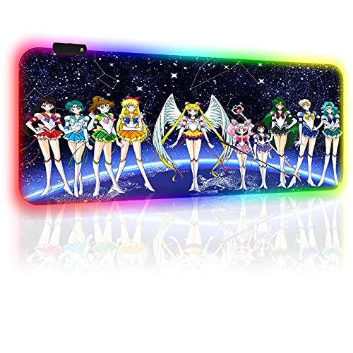 RGB Gaming Mouse Pads Sailor Moon Anime Custom Large Extended Mouse Pad Non-Slip Rubber Base Mouse Mat, Computer Keyboard Mousepads Mat for Pc Laptop 40 X 90 Cm/35.5 X 15.8 Inches(4mm Thick)