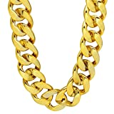 CrazyPiercing Faux Gold Acrylic Chain Necklace, 90s Punk Style Necklace Costume Jewelry, Hip Hop Turnover Chain Necklace, Plastic (32 inches, 35mm) (Gold)