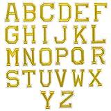 26Pcs Dorado Letra Parches Termoadhesivos, A-Z Alfabeto Carta Parches Adhesiva Apliques de Costura, Hierro Coser en Parche de Planchar, Bordado Reparación Decorativa Tela Parches para Bolsa Ropa