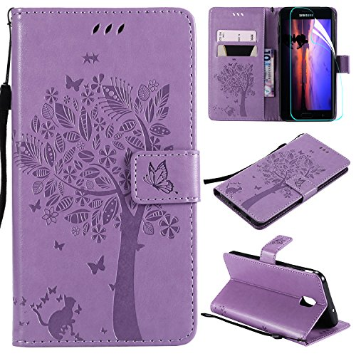 Galaxy J7 2018 Case with Screen Protector,For Samsung Galaxy J7 Aero/J7 Star/J7 Top/J7 Crown/J7 Aura/J7 Refine/J7 Eon Case Flip Case,PU Leather Tree Cat Flowers Wallet Case Card Slots Light Purple