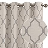 Curtains Living Room Darkening Drapes Bedroom Linen Textured Window Treatment Panels 63 inch Long One Panel Grey on Beige