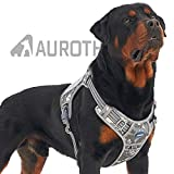Auroth Tactical Dog Training Harness No Pulling Front Clip Leash Adhesion Reflective K9 Pet Working Vest Easy Control for Small Medium Large Dogs (L(Neck:20~24',Chest:23~32'), Grey Camo)