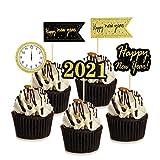 HOWAF 25 Piezas Nochevieja 2021 decoración Feliz año Nuevo Fiesta Cupcake Toppers Tartas Decoración cumpleaños