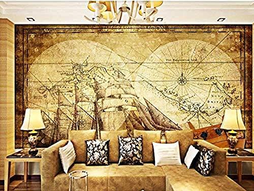 Tapete 3D Wandbild Hauptdekoration Plakate Seekarte Antike Segelschiff Fototapete-200 cm × 140 cm (Bxh)