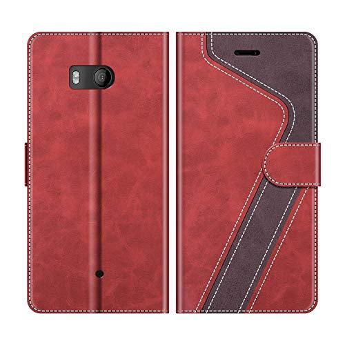 MOBESV Handyhülle für HTC U11 Hülle Leder, HTC U11 Klapphülle Handytasche Case für HTC U11 Handy Hüllen, Rot