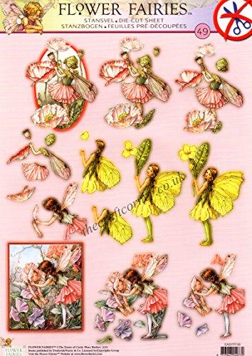 Sweet Pea, Shirley Poppy & Primrose Flower Fairy Die Cut 3d Decoupage Sheet - NO CUTTING