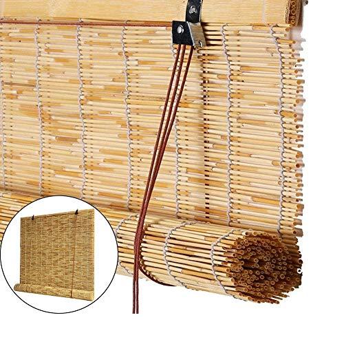 Holzrollo Außenrollläden, Natürlich Gewebte Verdunkelungsjalousien, Ohne Bohren, für Pavillon-Türbalkon, 1m / 1,2m / 1,3m / 1,5m / 1,8m Breit (Size : 1.8×2m)