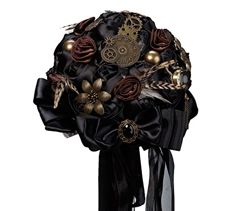 Lillian Rose BQ270 Steampunk Theme Wedding Bouquet, Black