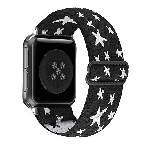 Adjustable Stretchy Solo Loop Nylon Strap Compatible with Apple Watch Elastic Band 38mm 40mm iWatch Series SE/6/5/4/3/2/1 (Black White Star, 38mm/40mm)